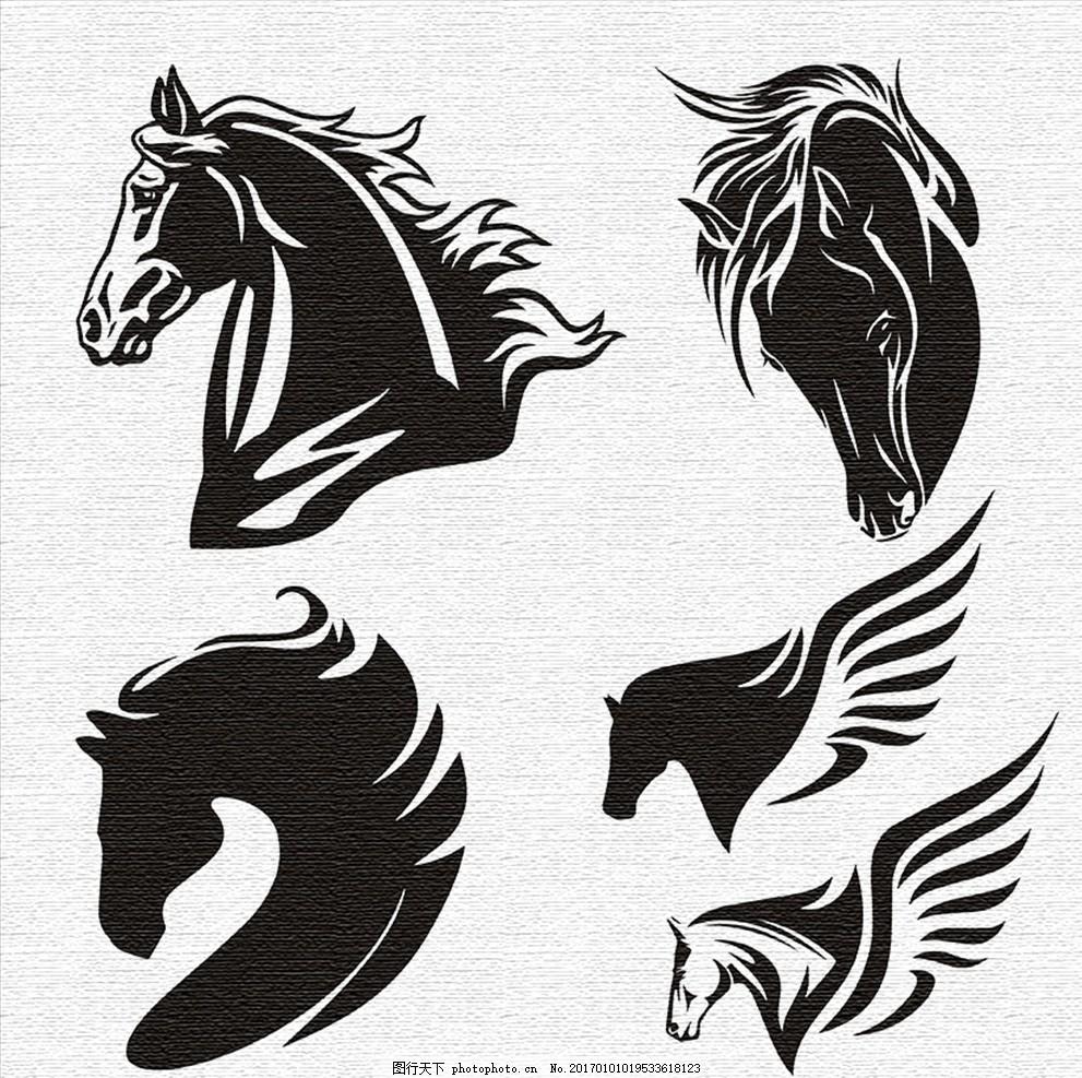 马图案 马 图案 图腾 纹身图案 刺青图案 马头 飞马 t恤& 图案