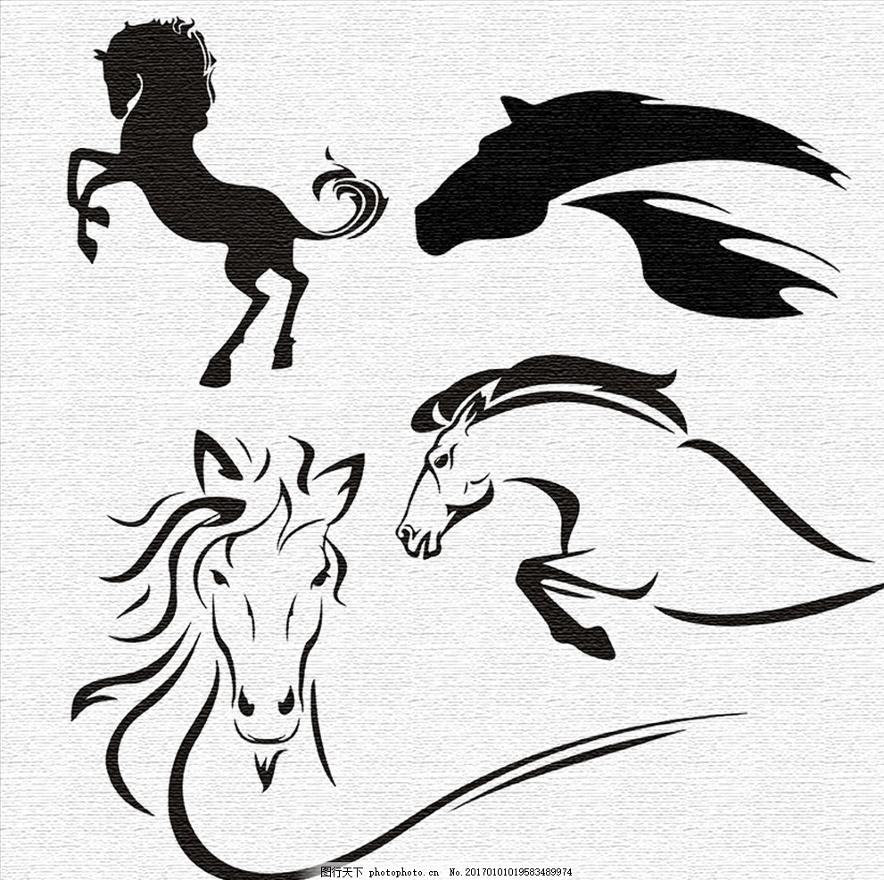 马图案 马 图案 图腾 纹身图案 刺青图案 马头 奔马 t恤& 图案
