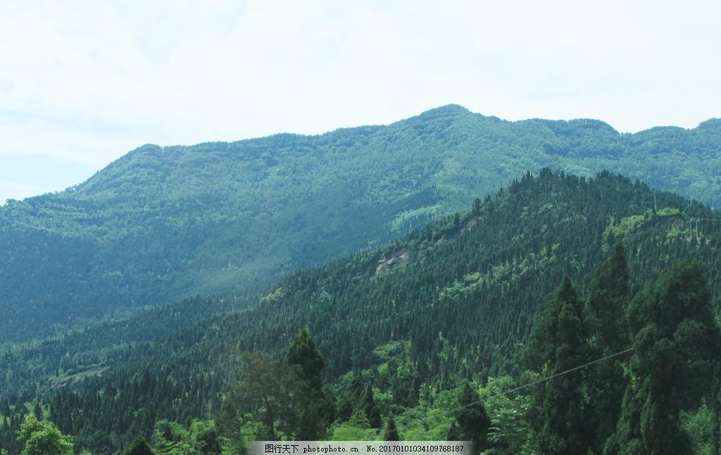 自然美景 原始森林 远景 风景 郊外 蓝天白云 草地 农村 高速 远处