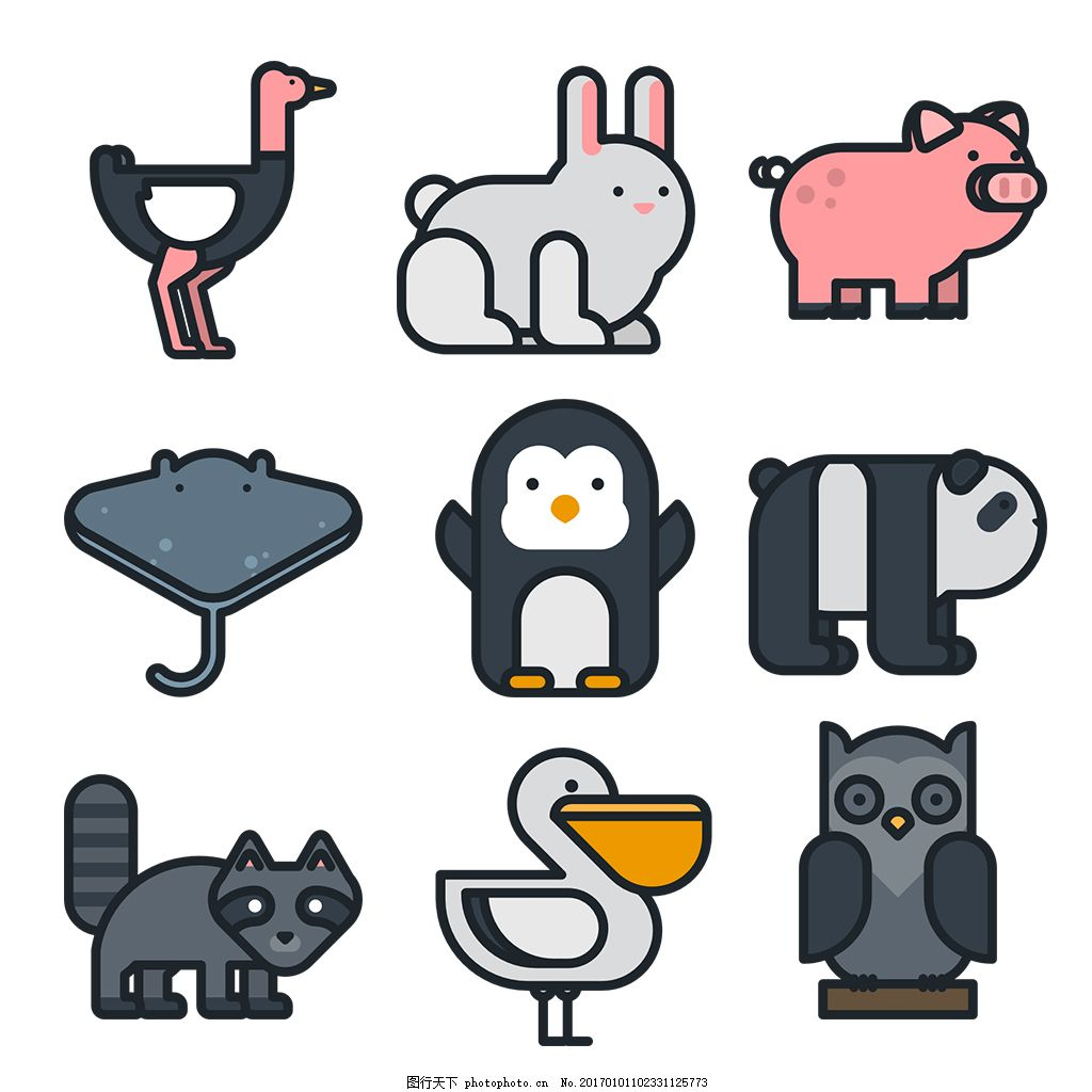 简约动物icon图标 线性 扁平 手绘 单色 多色 精美 可爱