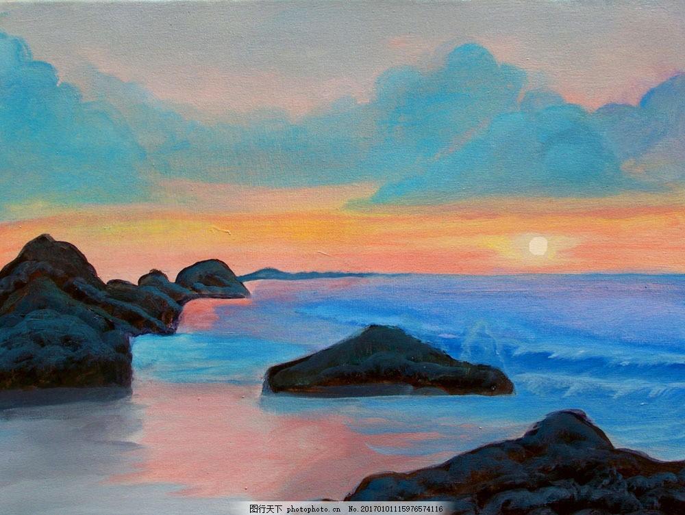 大海风景油画写生图片
