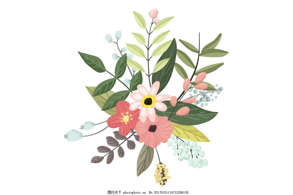 手绘花丛ai矢量图 原创 花朵 绿叶 自然 装饰 花纹 花瓣 背景