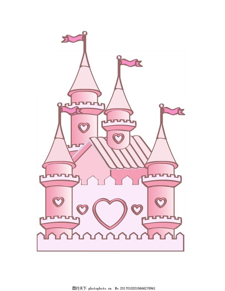 城堡卡通 粉色 简笔画 动漫动画