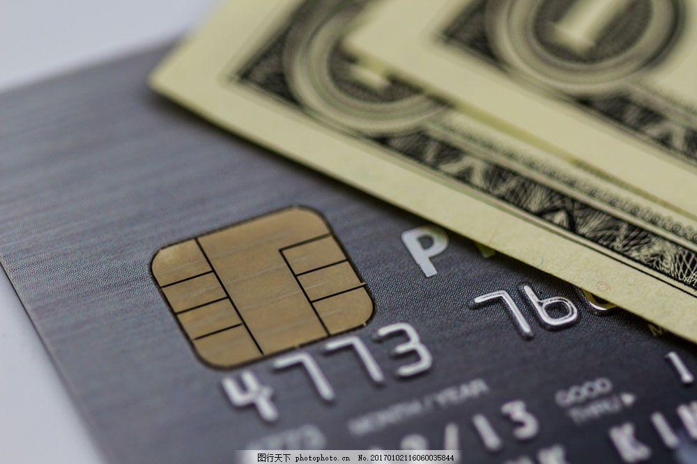 美元银行卡图图片素材 特写 银行卡 芯片 美元 钞票 金钱 金融货币
