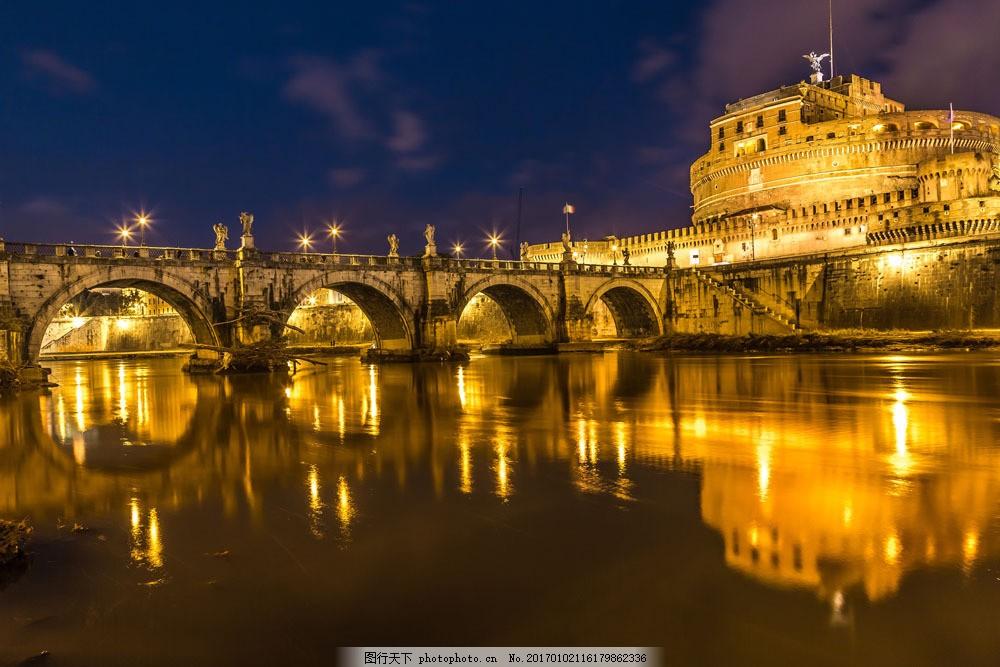 夜晚的欧式建筑和大桥 夜晚的欧式建筑和大桥图片素材 桥梁 灯光