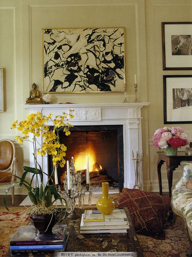 欧式客厅装修效果图 欧式客厅装修效果图图片素材 挂画 沙发 花