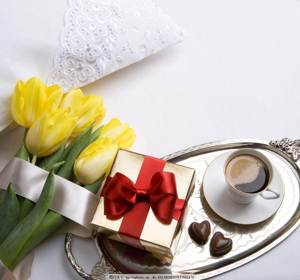 郁金香巧克力 郁金香巧克力图片素材 节日 情人节 鲜花 礼物 咖啡