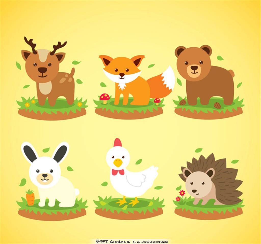 6款可爱呆萌小动物设计矢量素材