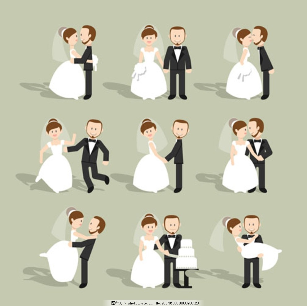 手绘卡通婚礼新婚夫妻形象