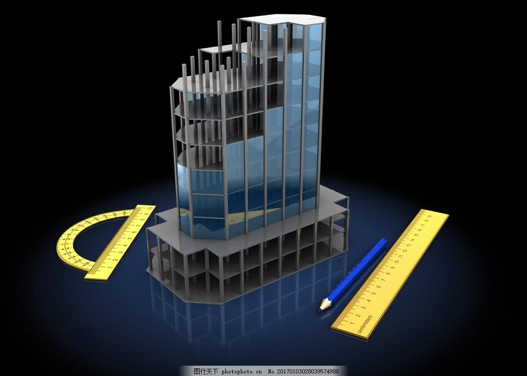 建筑模型 设计图纸 建筑物 土木工程 土建 红色房顶 搭建中的房子
