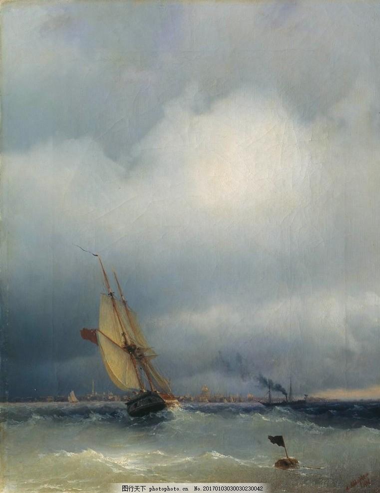 油画 油画艺术作品 油画艺术 油画作品 欧式风景油画 海洋 船舶
