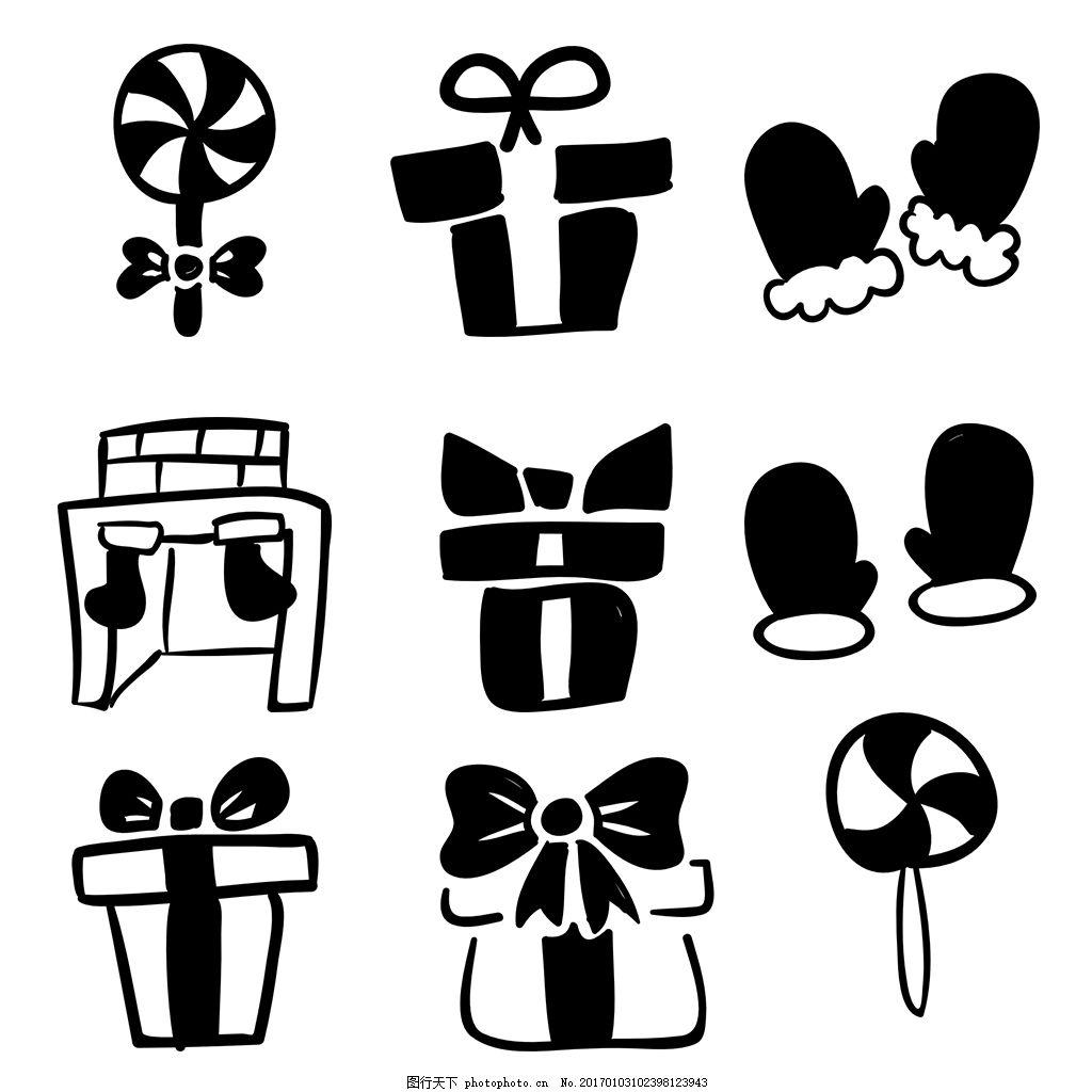 黑白圣誕節icon圖標 線性 扁平 手繪 單色 多色 簡約 精美