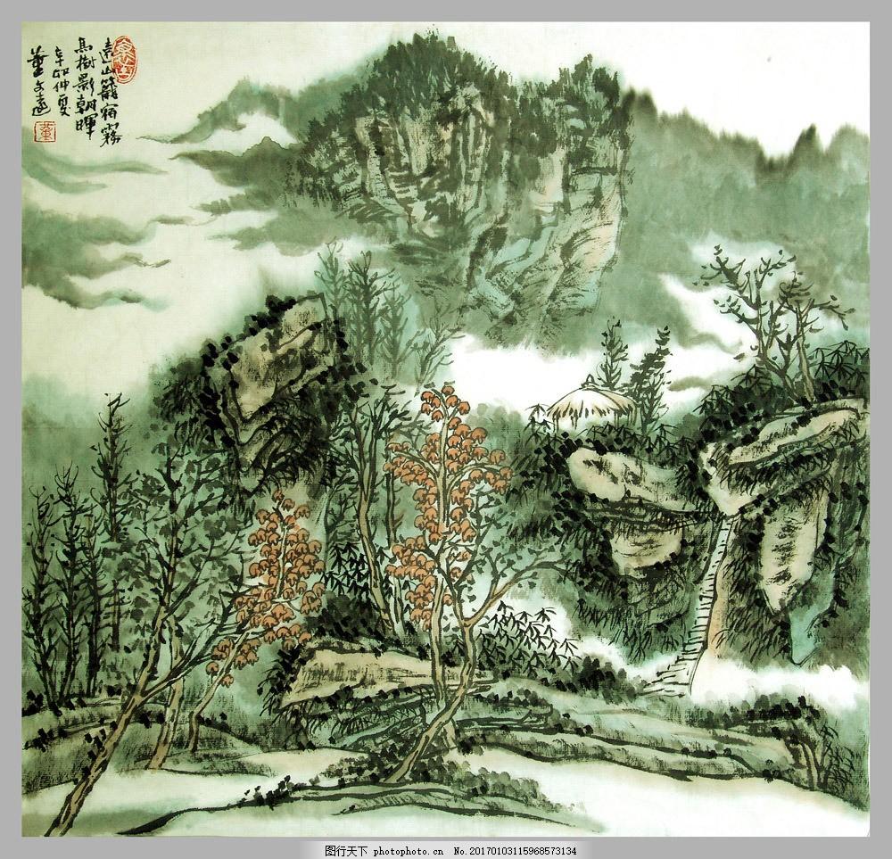 山水装饰画 山水装饰画图片素材 油画 国画 无框画 插画 手绘