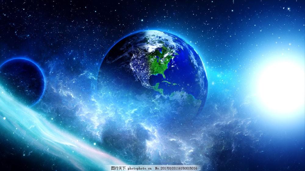 美丽蓝色星空中的地球图片