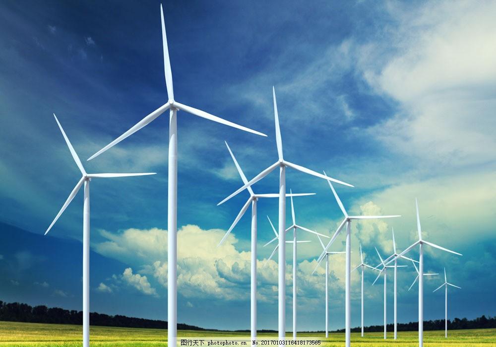 草原上的风车 草原上的风车图片素材 蓝天 风力发电机 自然 环保图片