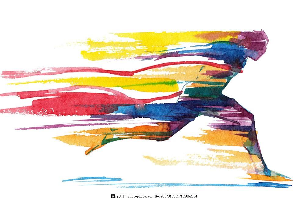 跑步体育插画图片素材 跑步 奔跑 体育插画 笔触 水彩画 体育运动员