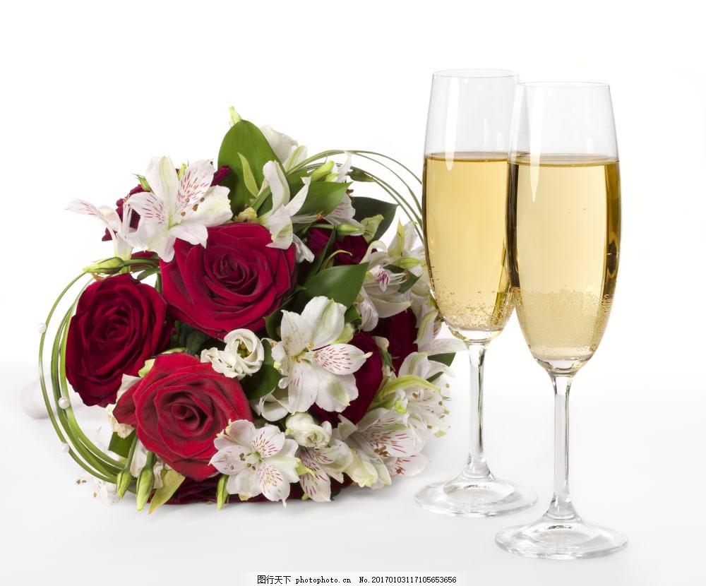 鲜花与葡萄酒 鲜花与葡萄酒图片素材 花卉 玫瑰花 高脚杯 酒杯