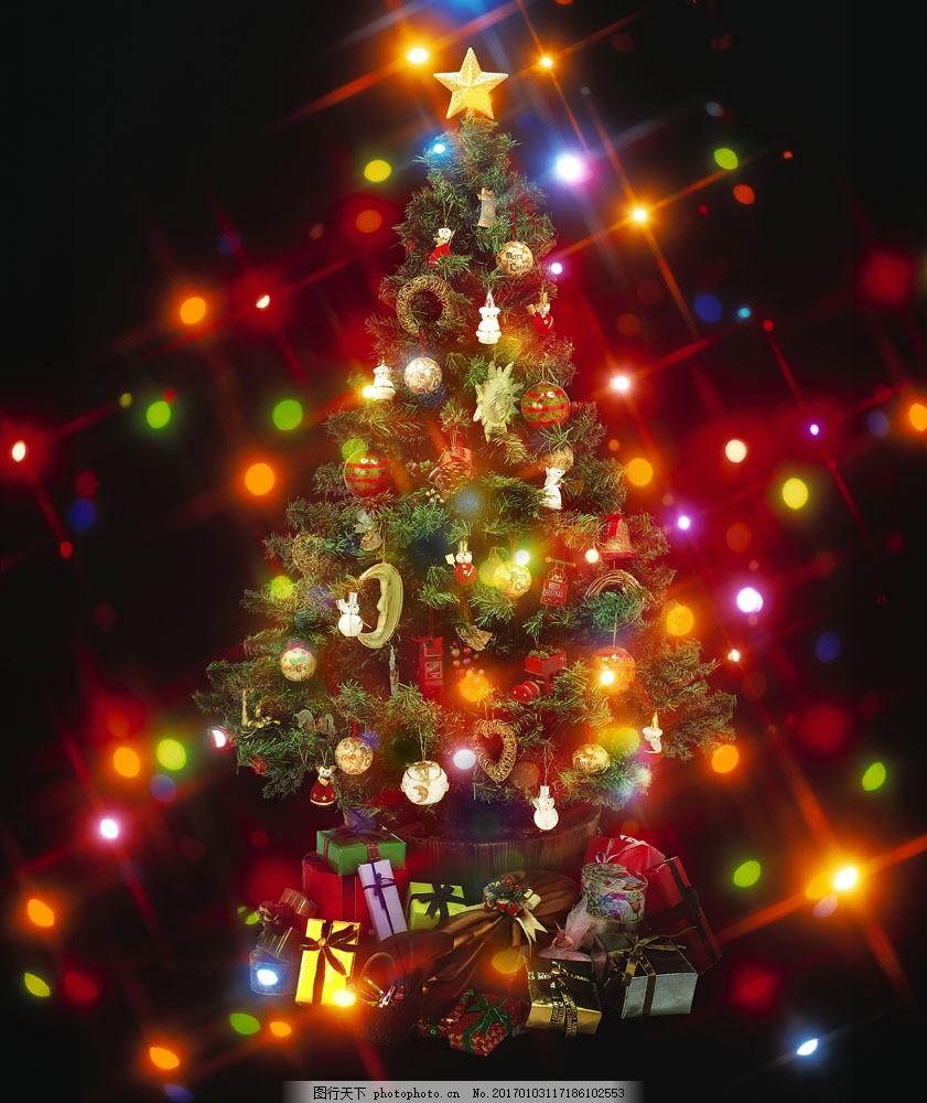 圣诞树背景模板 圣诞树背景模板图片素材 圣诞节 圣诞球 礼物 彩光