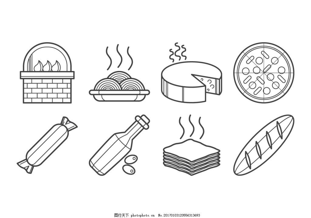 厨房甜点食材用品矢量图图片