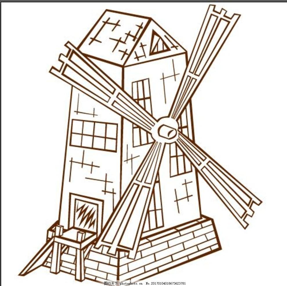 风车线稿 卡通手绘 古代 木质建筑 房子 风车 原始房子 正面 线稿 可