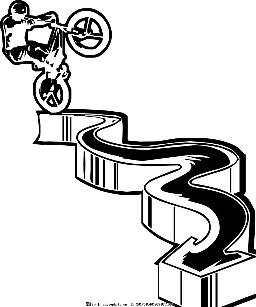 自行车 极限运动 矢量图 创意 黑白 奇异