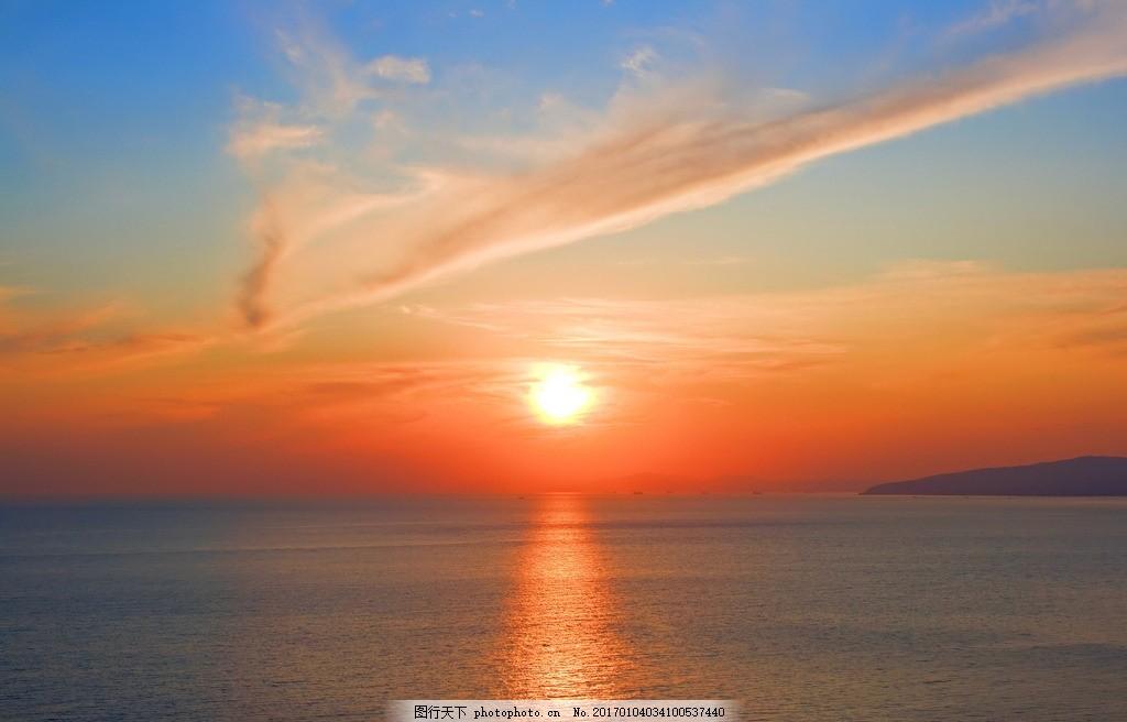 彩铅手绘大海朝阳图片