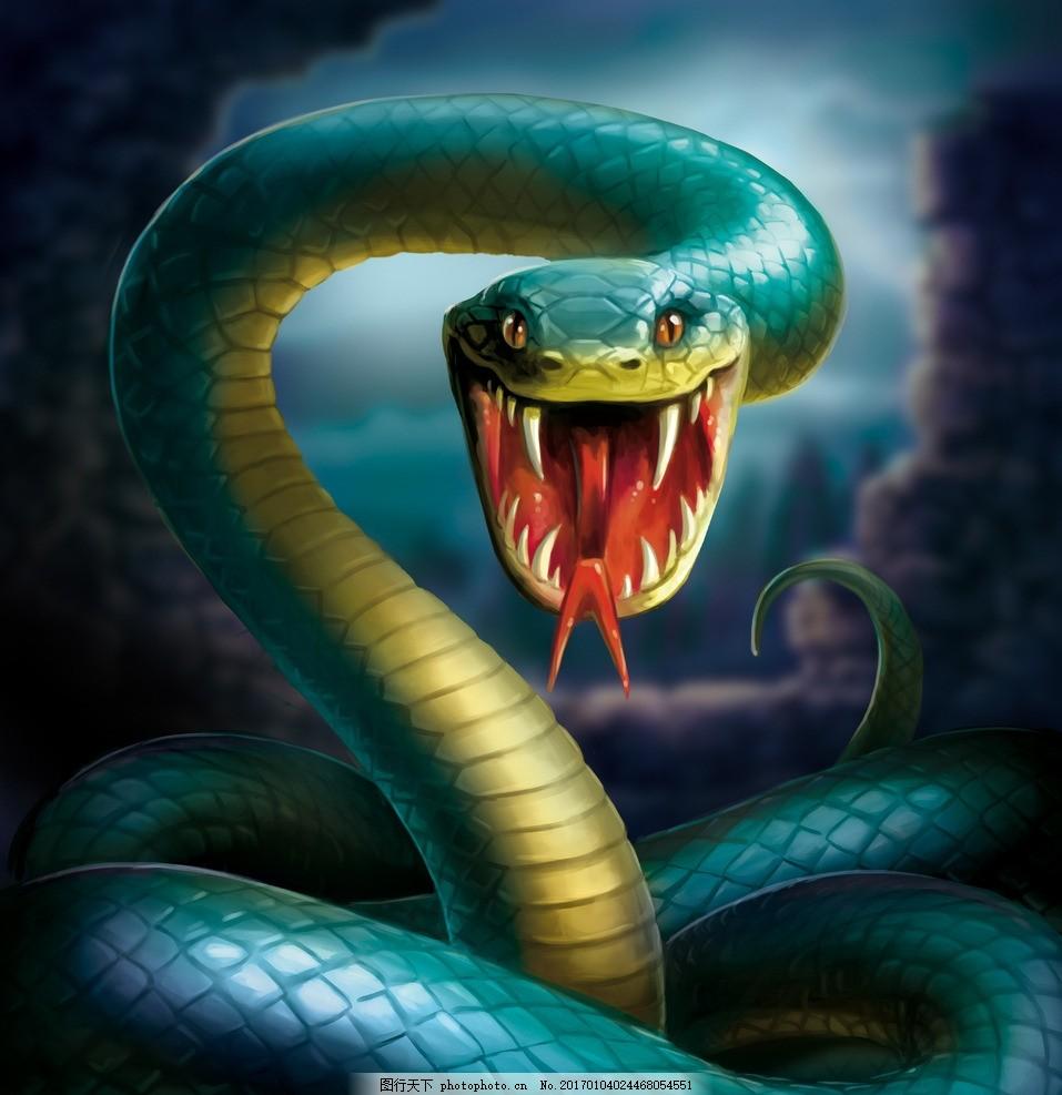 张开嘴吐出信子的青蛇 动物 牙齿 山洞 蛇洞 蛇毒 恐怖 高清图片
