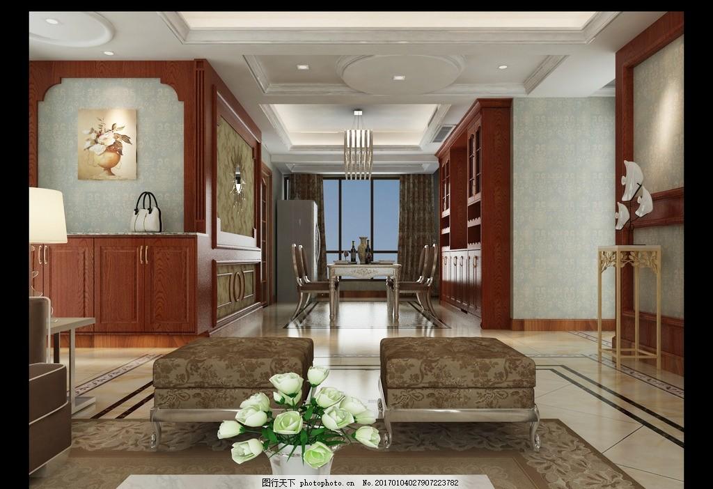 深色美式 护墙板 美国红橡 鞋柜 酒柜 设计 环境设计 室内设计 72dpi图片