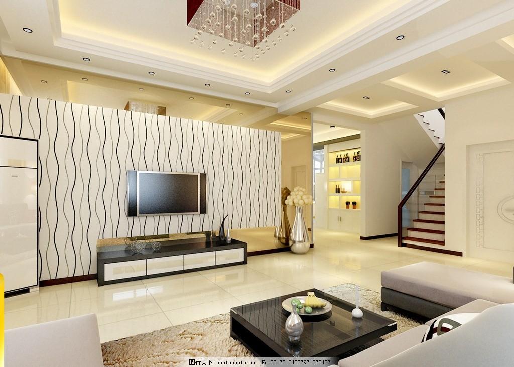 别墅一层大厅装饰效果图 装修 家装 电视背景墙 吊顶设计 室内设计