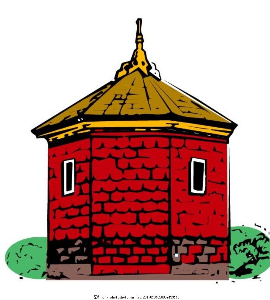 手绘 房子 城堡 漫画 矢量 乡村矢量 ai 房子矢量图 楼房 建筑 房屋