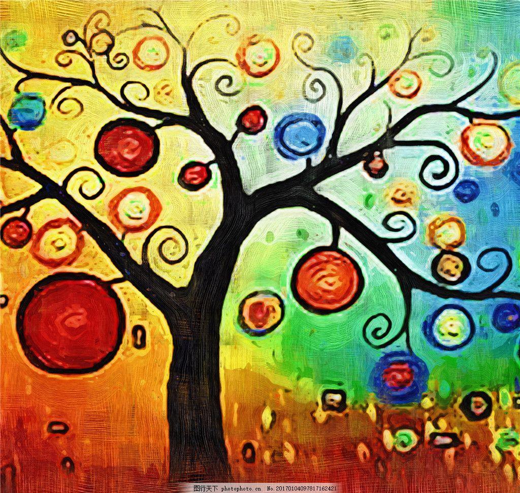 创意彩色圈圈树花装饰画
