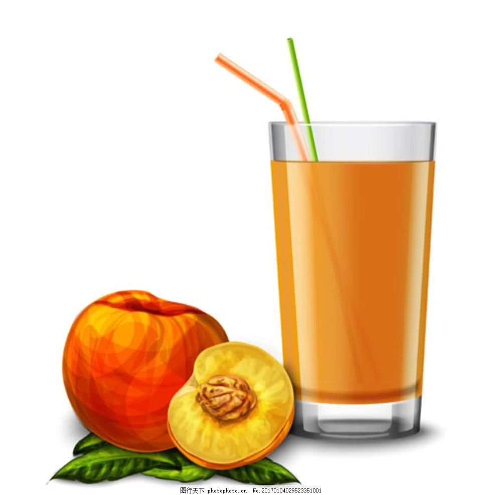 手绘水彩水蜜桃汁