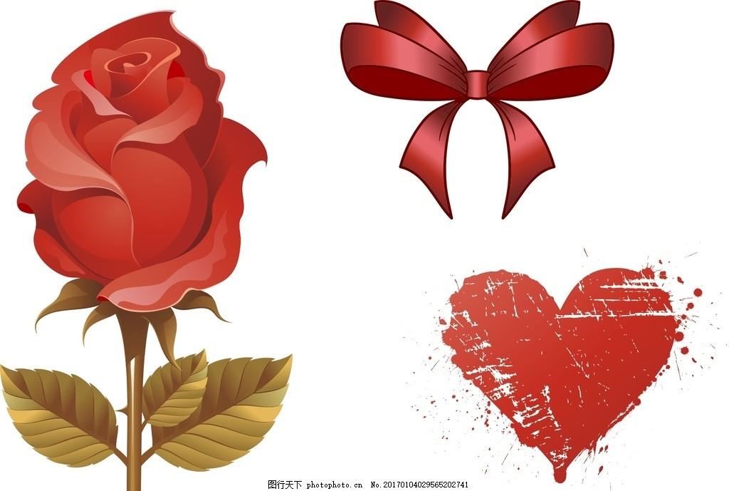 丝带结 红色丝带结 红色蝴蝶结 矢量蝴蝶结 矢量丝带结 手绘玫瑰花