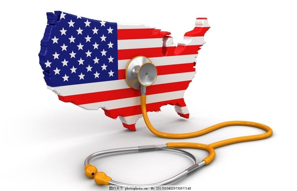美国国旗 听诊器 心脏健康 心脏病 创意设计 欧美海报 心脏 设计 广告图片