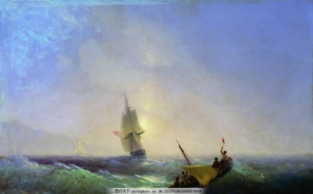 欧式海景油画 风景油画 手绘 风景 西方古典油画 油画 油画艺术作品