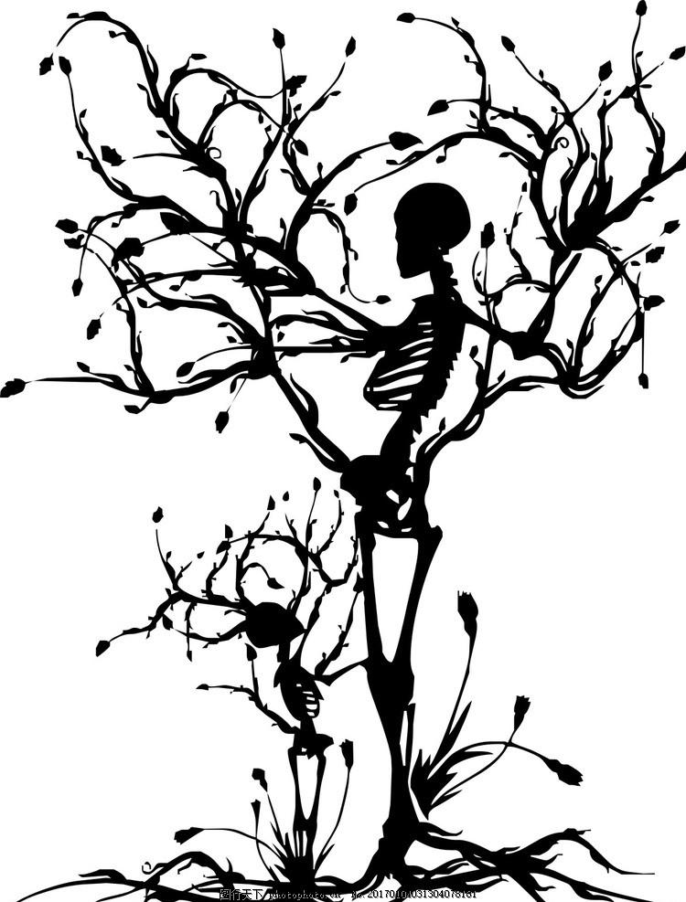 骷髅 树 子母骷髅 树藤 矢量图 黑白 手绘创意 动植物 设计 文化艺术