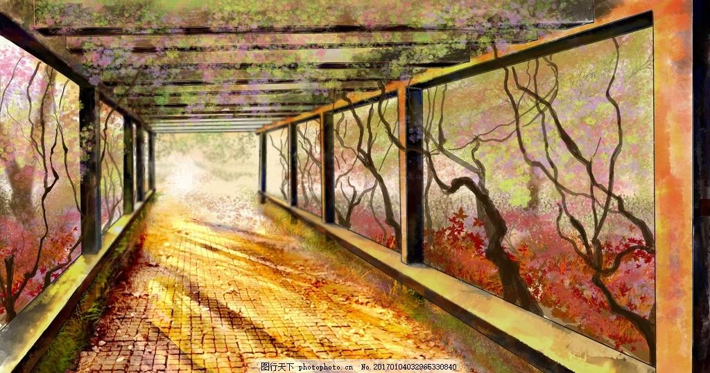 校园走廊 阳光 手绘 场景 背景图