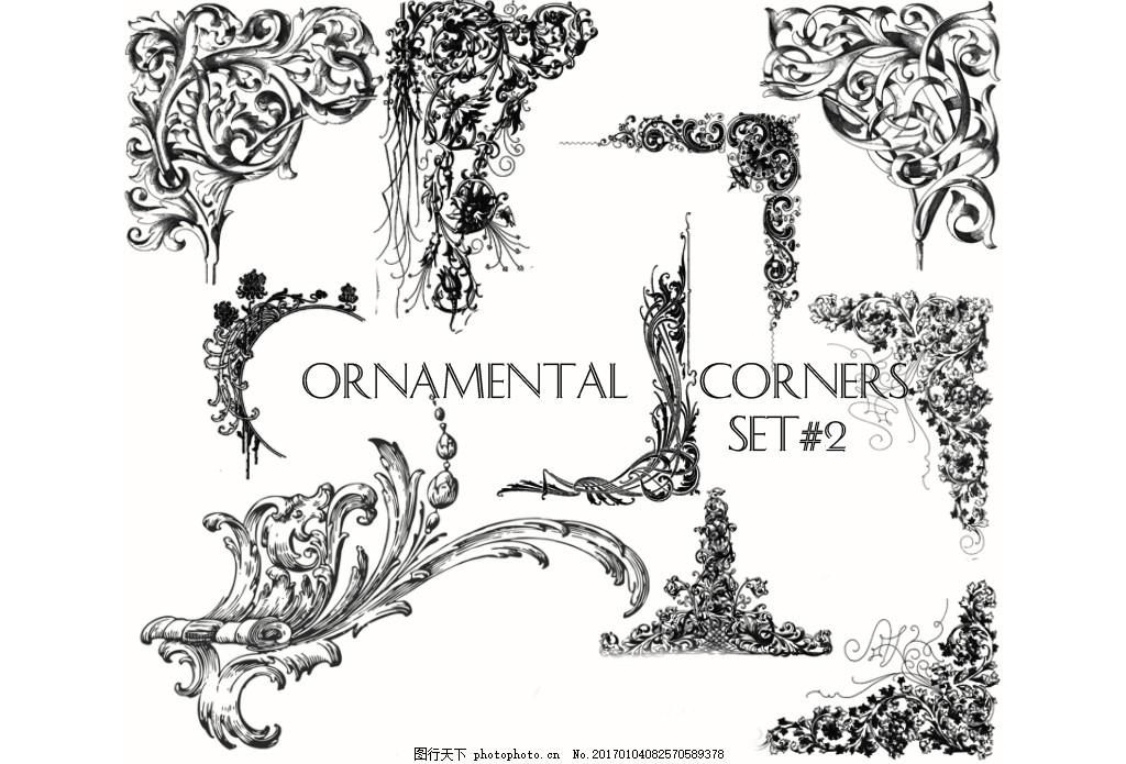 欧式复古立体花纹装饰ps笔刷