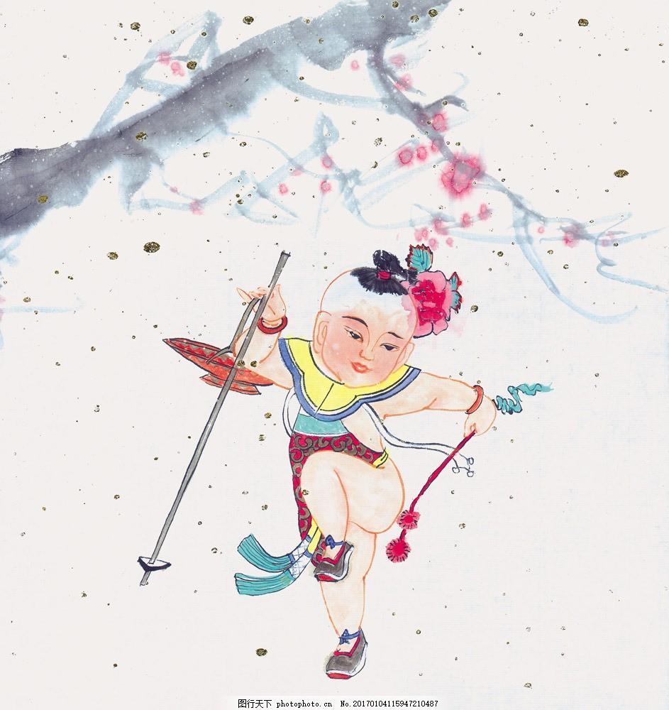 儿童人物画 儿童人物画图片素材 水墨画 名画 水墨花卉植物 国画