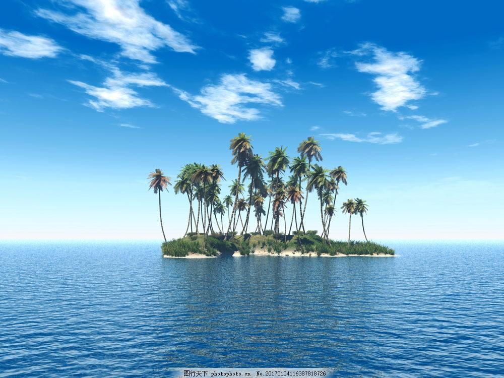 蓝天白云与大海 蓝天白云与大海图片素材 海岛 岛屿 植物 椰树