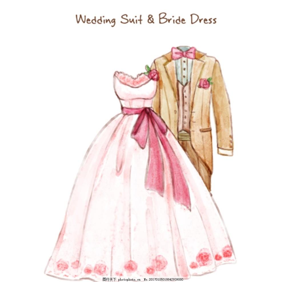 手绘水彩婚礼新郎新娘礼服