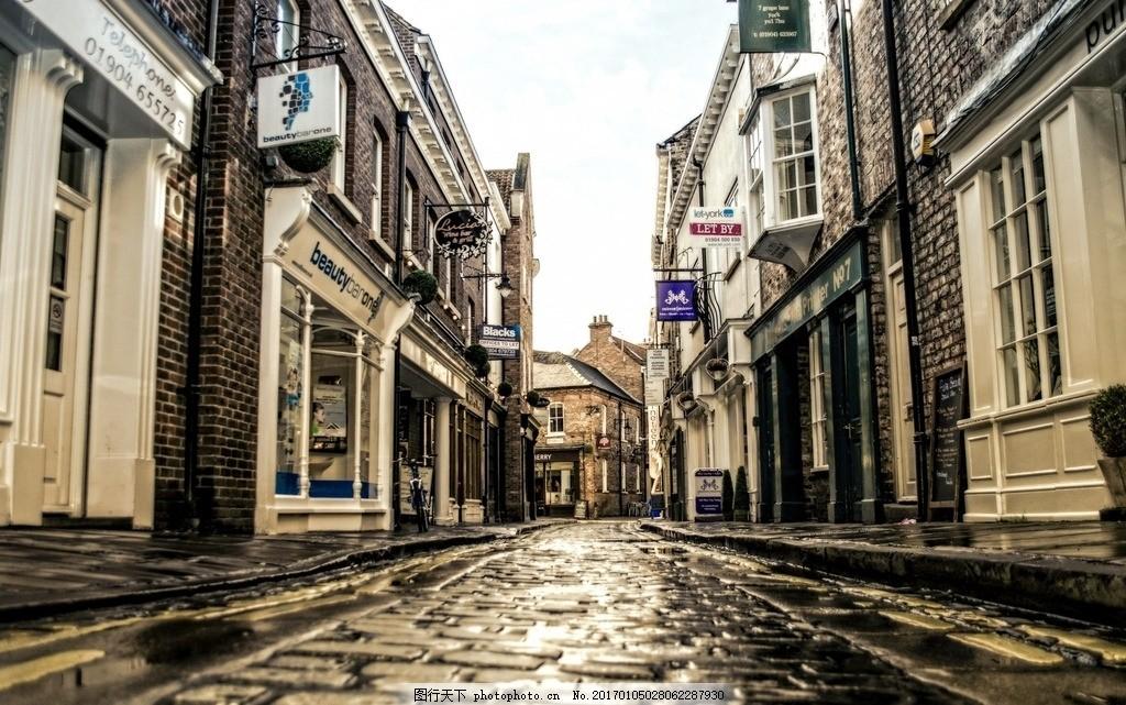 街道 雨后街道 静谧 文艺 复古 欧式街道 建筑 摄影 建筑园林