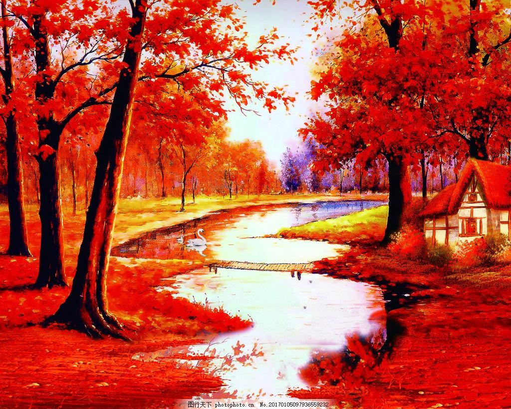红色树林背景墙 壁纸 风景 高分辨率图片 高清大图 建筑 装饰
