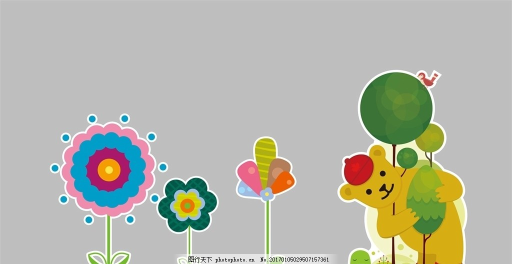 幼儿园墙体 花朵 形状 树造型 熊 新型 墙体装饰 卡通