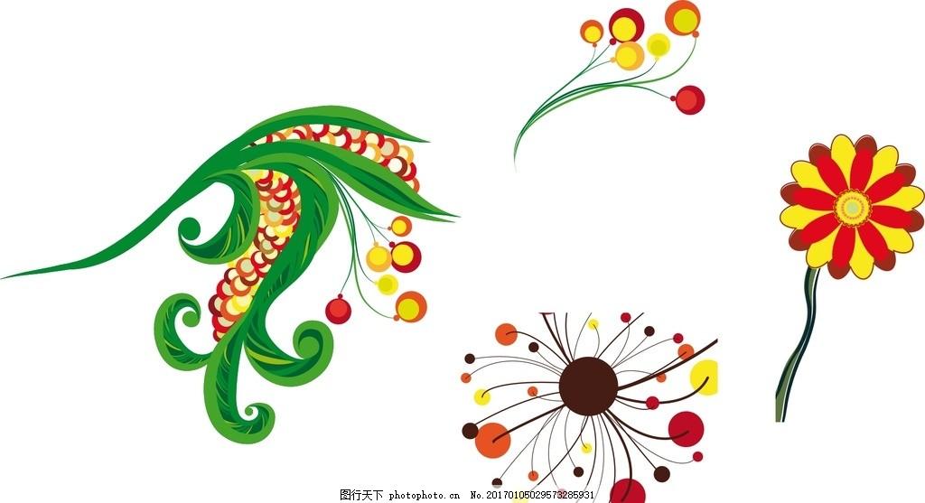 抽象 时尚 可爱卡通 矢量素材 幼儿园 卡通矢量素材 花朵 卡通花朵