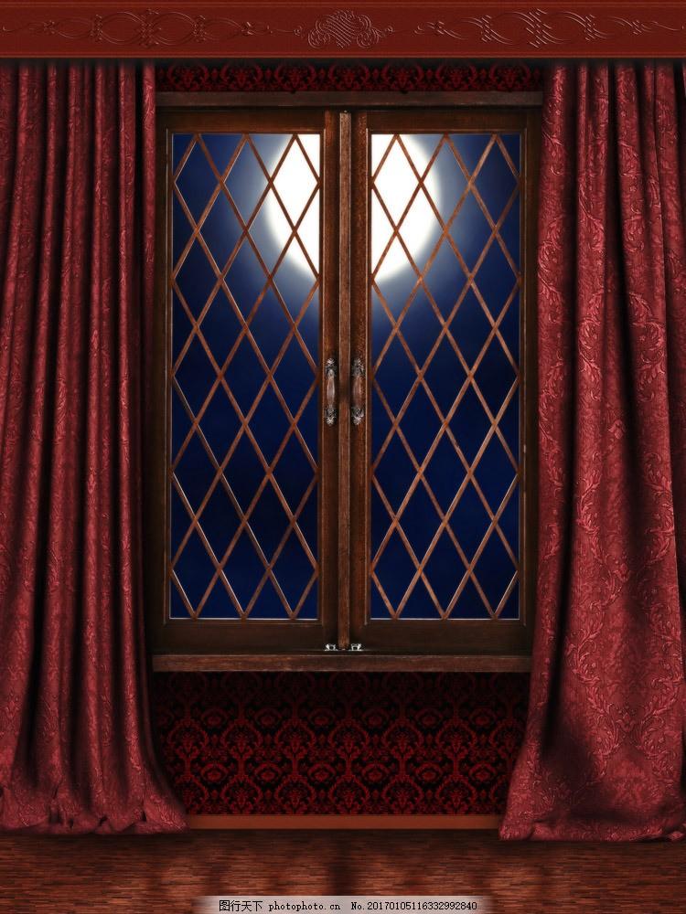 窗外月亮摄影 窗外月亮摄影图片素材 窗户 窗帘 建筑 房子 风景