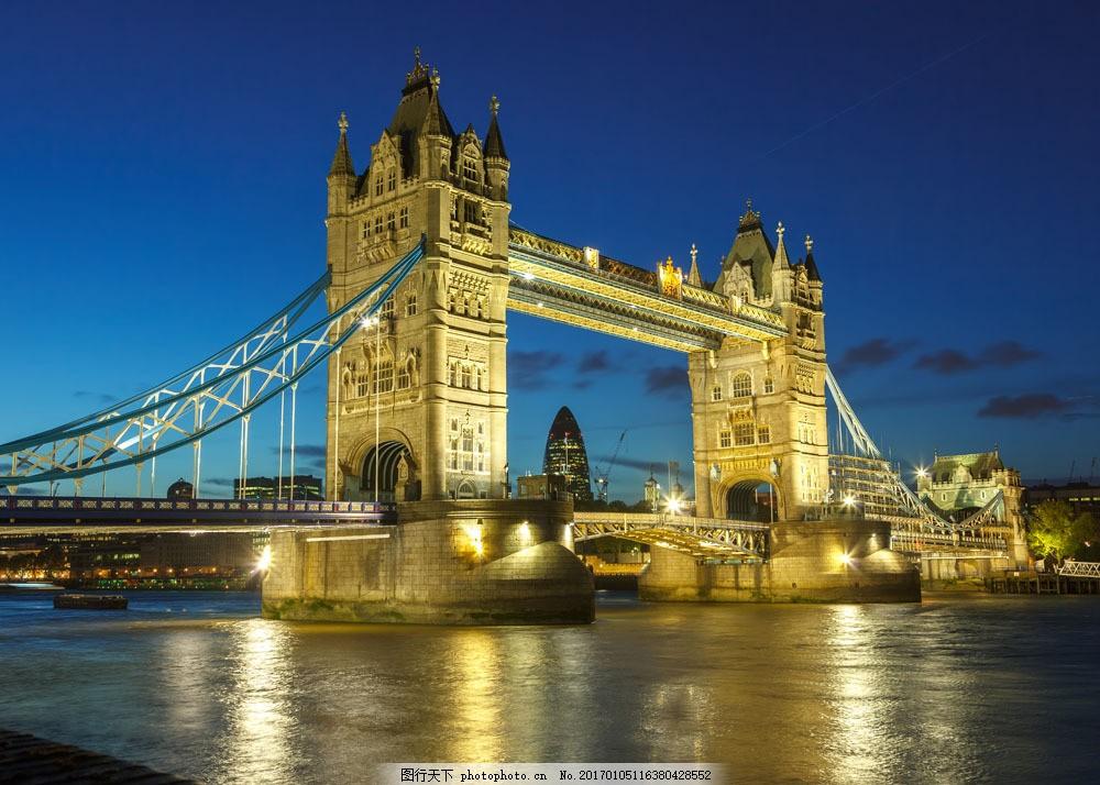 英国塔桥夜景图片素材 伦敦街道 伦敦风景 欧美风格 英国风景 名胜