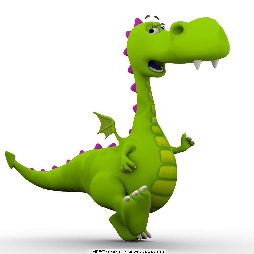 可爱的绿色恐龙图片素材 绿色恐龙 卡通龙 插画 3d模型 恐龙 西方龙