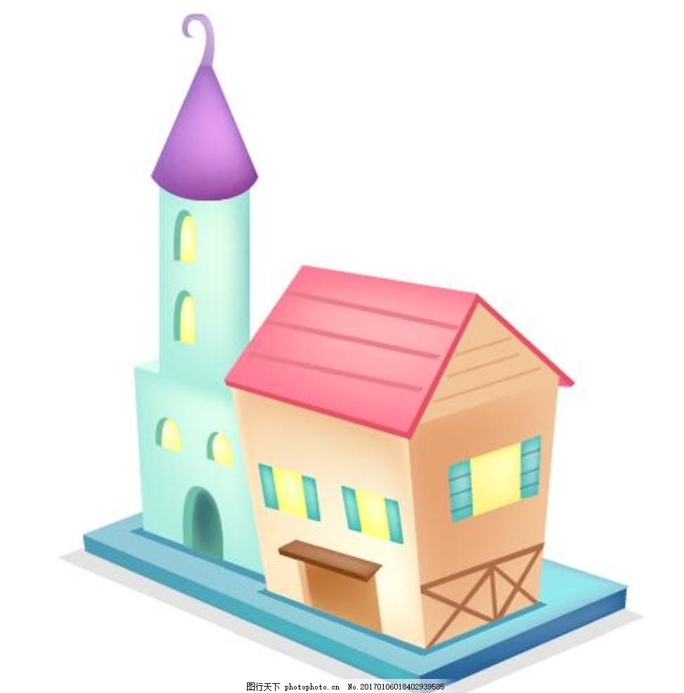 时尚 可爱卡通 矢量素材 幼儿园 装饰素材 卡通房子 房子 手绘房子 小
