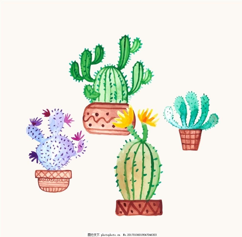 多肉植物 卡通手绘植物 仙人掌 仙人球 花盆 设计素材 设计 文化艺术